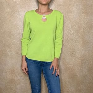 Rafaella | Lime Green Top with Keyhole Detail sz M